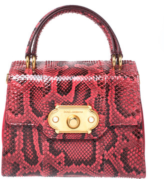Dolce & Gabbana Red Python and Velvet Welcome Top Handle Bag