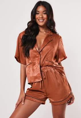 Missguided Rust Satin Sheen Contrast Piping Pyjama Top