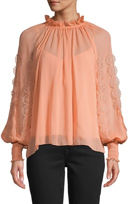 See by Chloe Ruffled Balloon-Sleeve Top