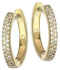 Kate Spade Women's Save The Date Pavé 12K Goldplated Huggie Hoop Earrings