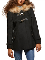 Miss Selfridge Petite Duffle Faux Fur Coat, Black