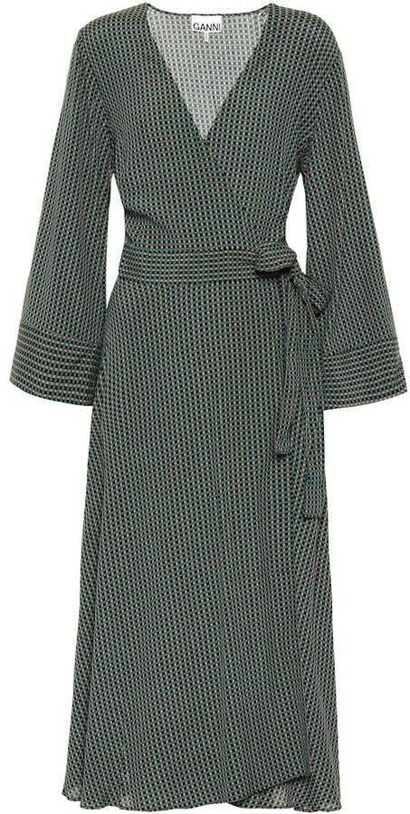 Ganni Checked Wrap Dress Shopstyle