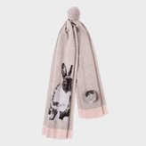 Paul Smith Women's Grey Wool-Mohair 'Lucky Rabbit' Scarf With Pom-Pom