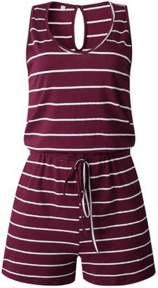 Goodnight Macaroon 'Jenny' Sleeveless Striped Romper (5 Colors)