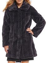 Jones New York Shawl Collar Faux Fur Walker Coat