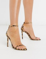 Abby strappy sandal with pointed toe in leopard patent