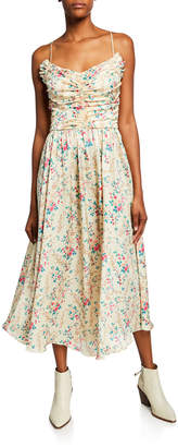 Jill Stuart Mini Floral-Print Shirred Bustier Charmeuse Midi Dress