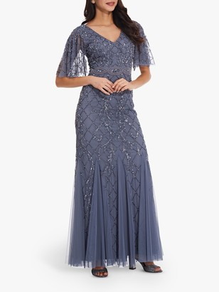 Adrianna Papell Covered Bead Gown, Dusty Blue