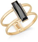 INC International Concepts Gold-Tone Pavé & Jet Stone Bar Hinged Bangle Bracelet, Created for Macy's