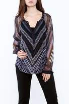 Hale Bob Sheer Long Sleeve Blouse
