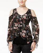Amy Byer Juniors' Printed Cold-Shoulder Top