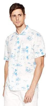 Isle Bay Linens Men's Standard Fit Short Sleeve Toile Vintage Printed Linen Cotton Casual Hawaiian Shirt S