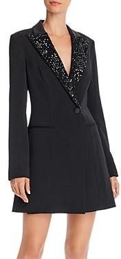 Jay Godfrey Ace Sequin Trimmed Tuxedo Wrap Dress