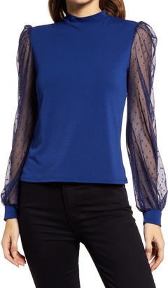 Halogen Mock Neck Mesh Sleeve Top