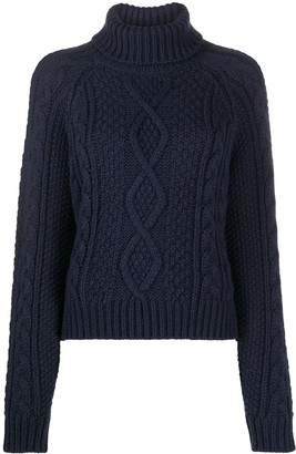 P.A.R.O.S.H. Roll-Neck Cable Knit Sweater