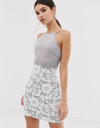 Girl In Mind 2-in-1 lace mini dress-Grey