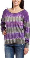 Purple & Gray Tie-Dye Boatneck Sweater