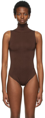 SKIMS Brown Essential Mock Neck Bodysuit
