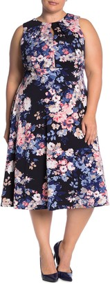 London Times Floral Pleated Neck Midi Dress (Plus Size)