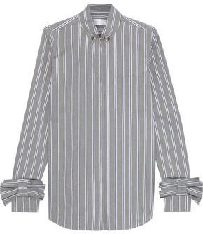 Victoria Victoria Beckham Bow-embellished Striped Cotton-poplin Shirt
