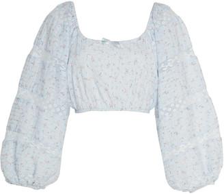 LoveShackFancy Albertina Cropped Cotton Top