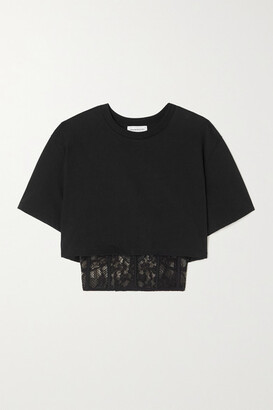 Alexander McQueen - Cropped Layered Cotton-jersey And Embroidered Tulle T-shirt - Black