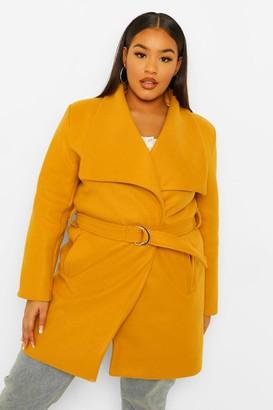 boohoo Plus Wool Look Buckle Trim Waterfall Duster Coat