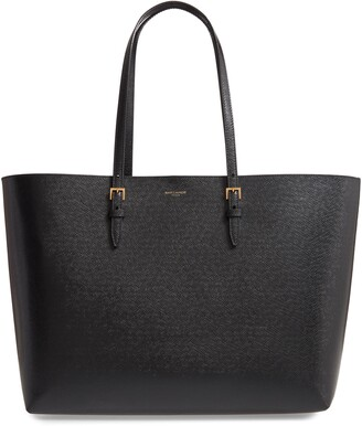 Saint Laurent Medium East/West Leather Shopping Tote