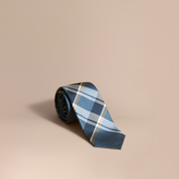 Burberry Modern Cut Check Jacquard Silk Tie, Blue