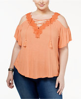 Jessica Simpson Trendy Plus Size Cold-Shoulder Peasant Top