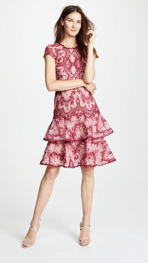 Marchesa Cap Sleeve Cocktail Dress