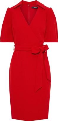 Badgley Mischka Wrap-effect Belted Crepe Dress