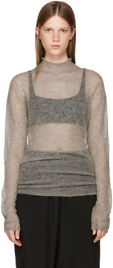 Rick Owens Grey Soft Lupetto Pullover