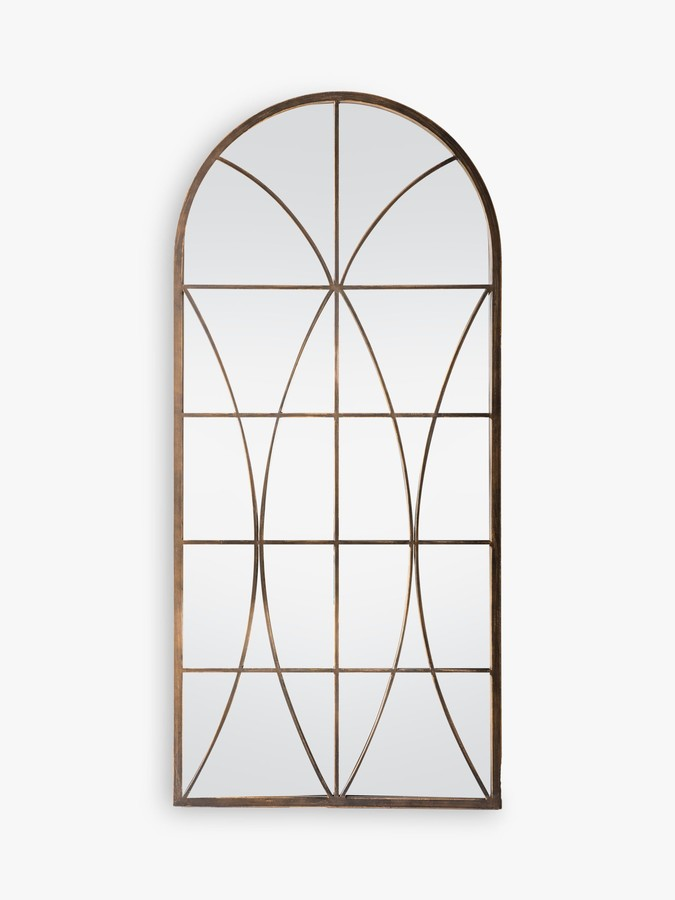 John Lewis & Partners Decorative Arch Window Metal Frame Outdoor Wall Mirror, 139 x 64cm, Antique Gold