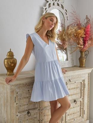 Forever New Janelle Smock Mini Dress - Vanilla/Dusty Blue Stripe - 14