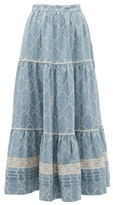 Gucci Tiered Gg Broderie-anglaise Cotton Skirt - Womens - Blue White