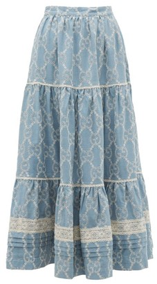Gucci Tiered Gg Broderie-anglaise Cotton Skirt - Blue White
