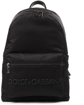 Dolce & Gabbana Black Leather & Fabric Logo Backpack