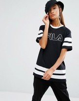 Fila Oversized Boyfriend T-Shirt With Tape Stripe And Logo Print
