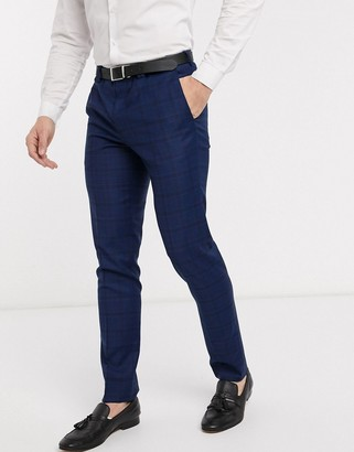 Viggo recycled polyester slim fit suit trousers in navy check
