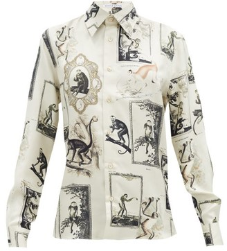 Alister Mackie - Monkey And Floral-print Silk-twill Shirt - Ivory Multi
