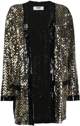 MSGM longline sequin kimono jacket