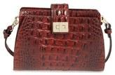 Brahmin 'Alena' Croc Embossed Leather Crossbody Bag - Brown