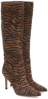 Gianvito Rossi Exclusive to Mytheresa Zebra-print suede knee-high boots