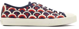 Valentino Scale Print Low Top Canvas Trainers - Mens - Blue Multi