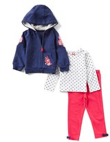 Little Me Baby Girls 12-24 Months Embroidered Hoodie Jacket, Dotted Tee, & Leggings 3-Piece Set