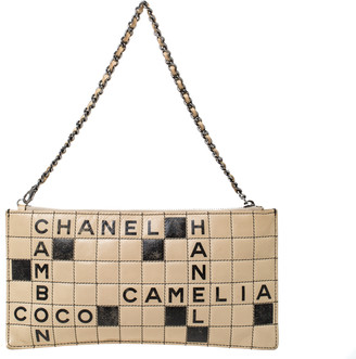 Chanel Beige Leather Crossword Chain Clutch Bag