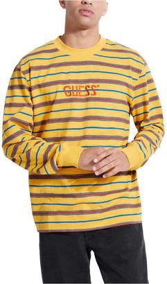 GUESS Men Long-Sleeve Striped Logo T-Shirt