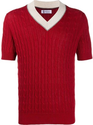 Brunello Cucinelli Cable Knit Short-Sleeved Jumper