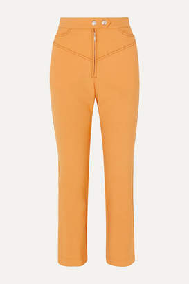 Ellery Orthodox Cropped Studded Cady Flared Pants - Yellow